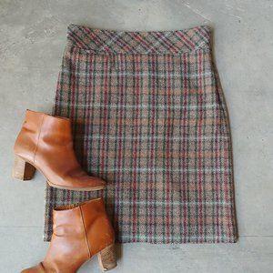 LL Bean Brown Plaid Wool Pencil Skirt 6